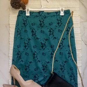 Anthropologie HD In Paris Emerald Lace Skirt